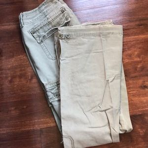 LT. OLIVE GREEN ABERCROMBIE DISTRESSED CARGO PANTS